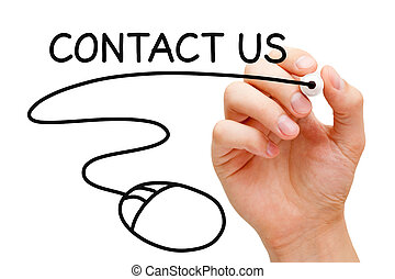 Contact Us Mouse - Hand sketching Contact Us concept with...