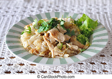 Fried Noodles with Roasted Chicken on star-burst plate.