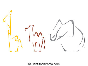 Safari animals - Giraffe camel and elephant at sketch