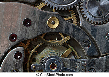 Watch mechanism - Close-up of old watch mechanism as...