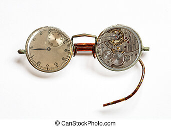 Time vision - Photomontage with old spectacles and watch on...