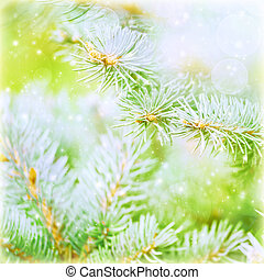Pine tree branch background, evergreen tree needle covered...