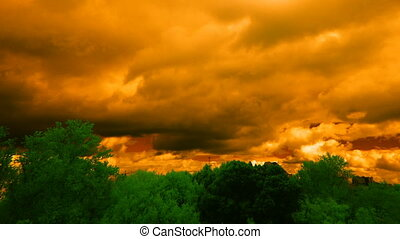 orange sky and green trees - clouds and trees, infrared...