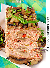 meatloaf with mushrooms and pepper - homemade baked meatloaf...