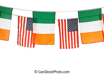 St Patrick holiday - Irish and american banner flags on...
