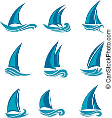 Yachts and sailboats symbols isolated on white. Vector...