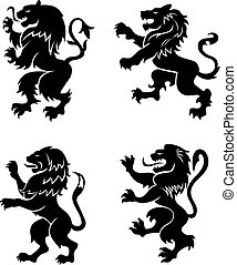 Heraldic lions - Angry lions silhouettes set for heraldry...