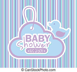 baby shower design over lineal background vector...
