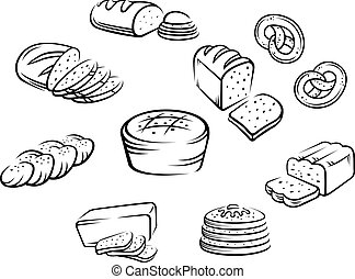 Bakery food - Set of bakery food on white background. Vector...