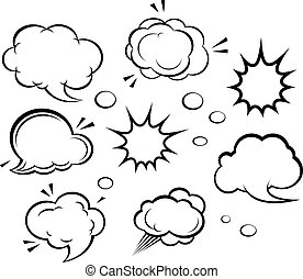 Cartoon clouds and explosions