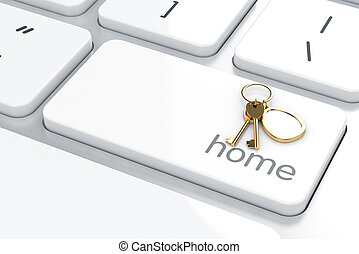 Home concept - 3d render of Enter button with home keys....