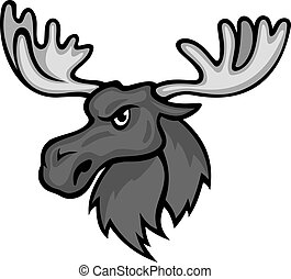 Wild moose with hornes in cartoon style. Vector illustration