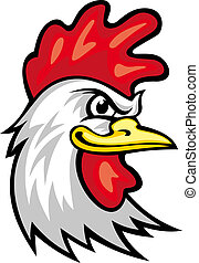 Rooster mascot - Head of cartoon rooster isolated on white...