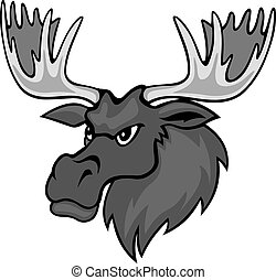 Cartoon moose with hornesfor mascot. Vector illustration