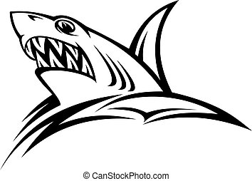 Danger shark tattoo - Danger shark in tribal style for...
