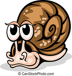 Funny snail - Funny cartoon snail isolated on white. Vector...