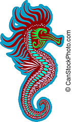 Colorful seahorse isolated on white. Vector illustration