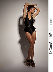 Seductive woman in black lingerie - Seductive young woman...