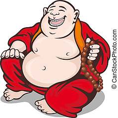 Monk with rosary - Asian smiling monk with rosary. Vector...