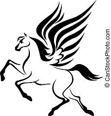 Pegasus horse with wings - black pegasus horse with wings...