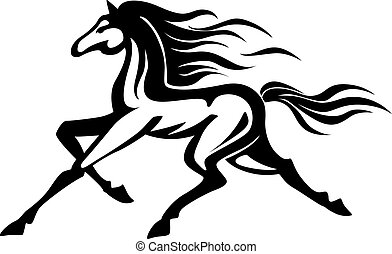 Running horse - Beautiful gallop running black horse. Vector...