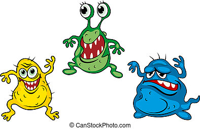 Cartoon monsters - Three cartoon monsters isolated on white...