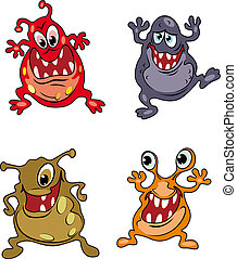 Danger cartoon monsters - Four danger cartoon monsters...