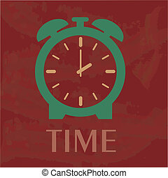 time design over red background vector illustration