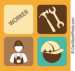workers  design over orange background vector illustration