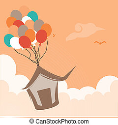 air balloons - cute air balloons over pink background vector...