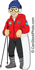 young skier illustration