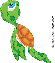 cute sea turtle cartoon illustration