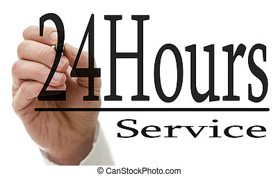 24 Hours service - Male hand writing 24 Hours service on...