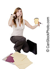 Clumsy businesswoman with paperwork and coffee, isolated on...