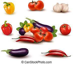 Fresh vegetable with leaves Healthy Eating Vector...