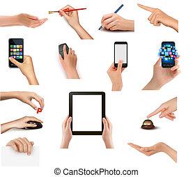 mega set of hands - Set of hands holding different business...