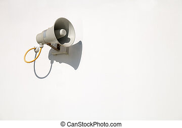 Speaker on a white wall - Loudspeaker on the white wall is...