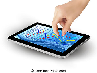 Tablet screen with graph and a hand
