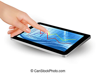 Tablet screen with graph and a hand Vector