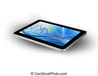 Tablet screen with graph. Vector.
