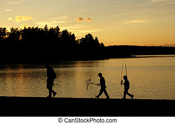 The Fishermen - Father accompanied by his two sons returning...
