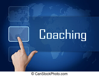 Coaching concept with interface and world map on blue...