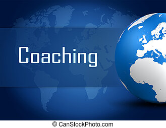 Coaching concept with globe on blue background
