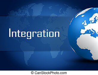 Integration concept with globe on blue background
