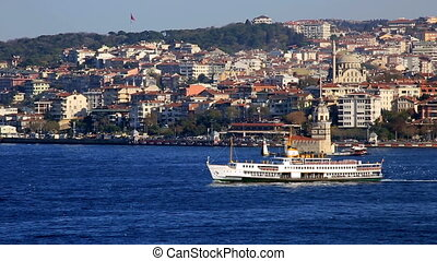 urban transport by sea in front Maiden Tower at Istanbul
