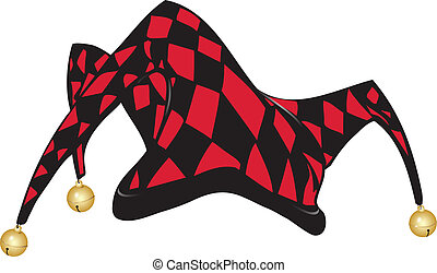 Jokers hat - Red and black Jesters hat, vector