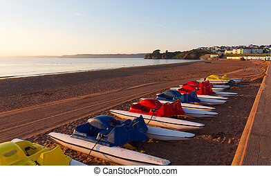 Pedalos, Goodrington, plage, Paignton