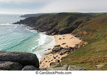Porthchapel beach autumn Cornwall - Porthchapel beach in...