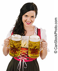 Beautiful woman serving Oktoberfest beer - Photo of a...