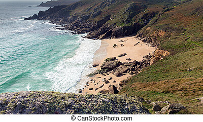 Porthchapel beach in autumn Cornwall England UK near the...